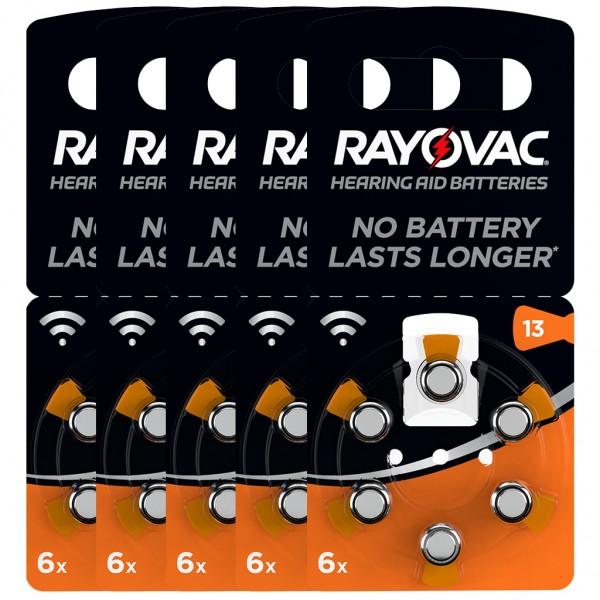 30 x RAYOVAC Hörgerätebatterie Zink - Luft Typ 13 1.45V 5 x 6er Blister