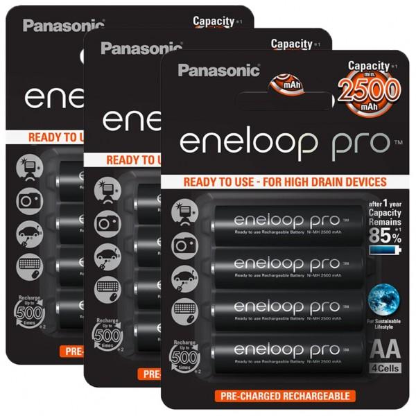 Panasonic eneloop PRO 12er Akku Pack AA BK-3HCDE Blister
