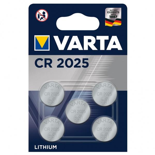 VARTA Batterie Lithium Knopfzelle CR2025 3V Professional Electronics 5er Blister
