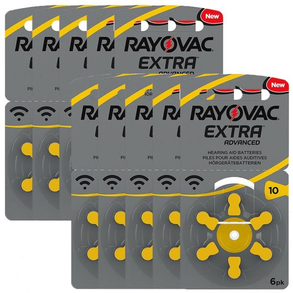 60 x RAYOVAC EXTRA Hörgerätebatterie Zink - Luft Typ 10 1.45V 10 x 6er Blister