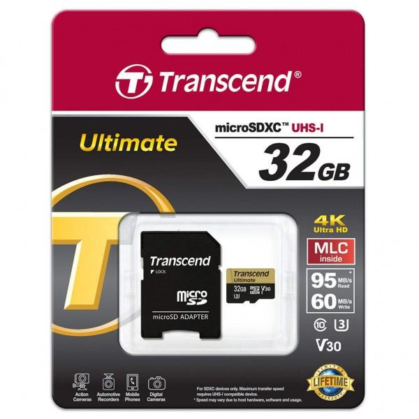Transcend Micro SDHC 32 GB Class 10 UHS-1 U3M Ultimate Speicherkarte TS32GUSDU3M