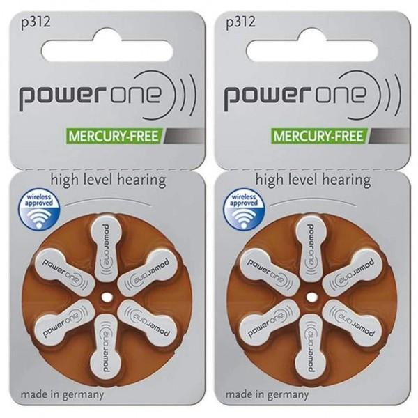 12 x Power One Hörgerätebatterie Zink - Luft Typ 312 1.45V 2 x 6er Blister