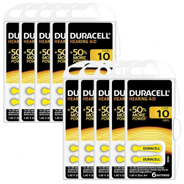 60 x Duracell Hörgerätebatterie Zink - Luft Typ 10 1.4V 10 x 6er Blister