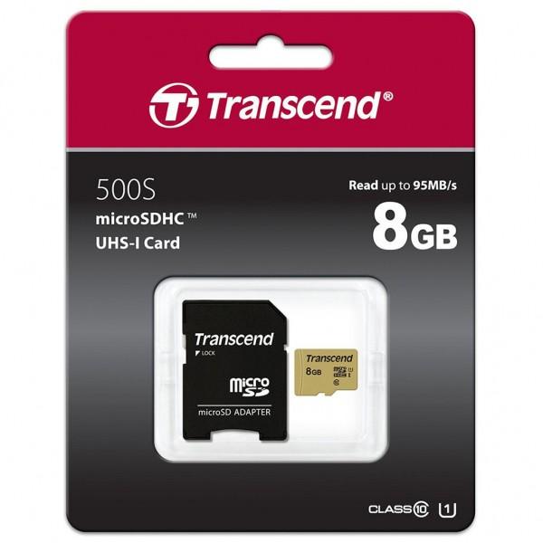 Transcend 8 GB microSDHC 500S Class 10 UHS-I U1 + SD Adapter