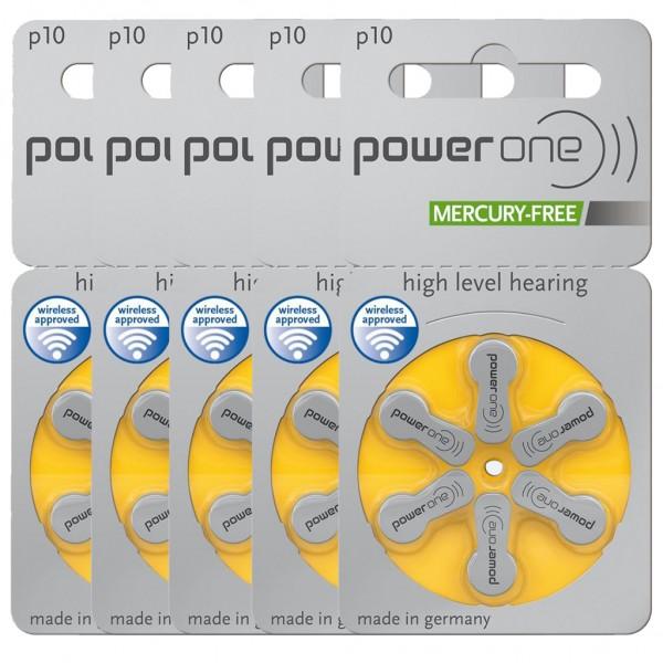 30 x Power One Hörgerätebatterie Zink - Luft Typ 10 1.45V 5 x 6er Blister