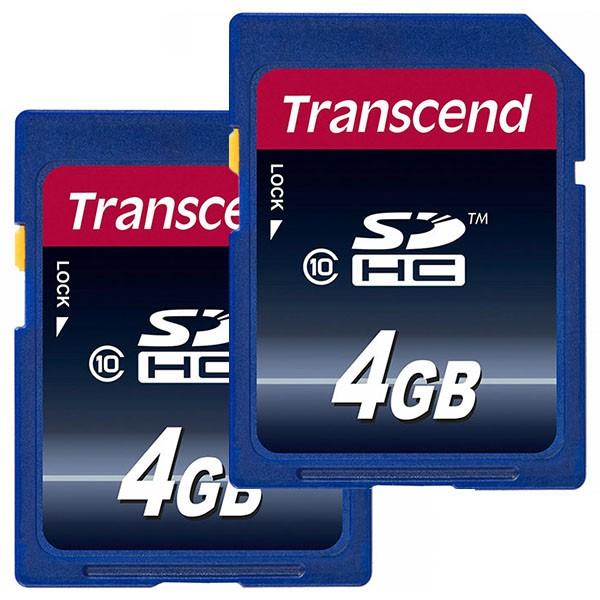 Doppelpack Transcend SDHC 4 GB Class 10 Speicherkarte TS4GSDHC10