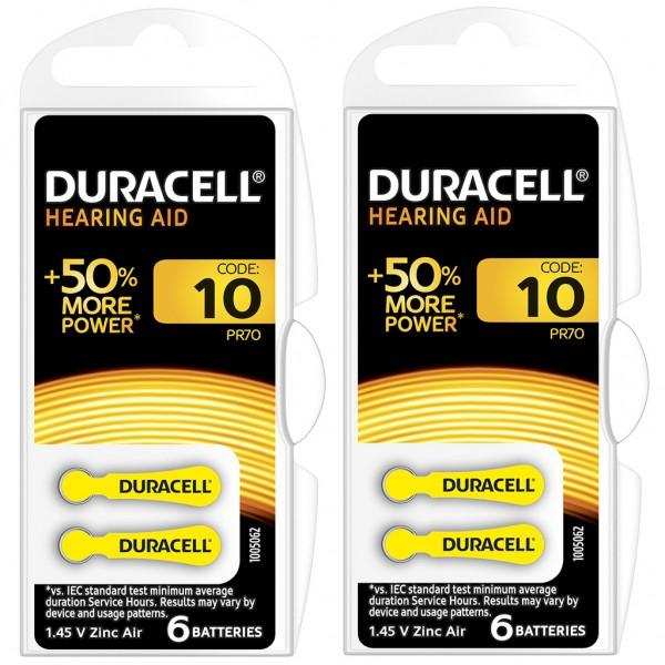 12 x Duracell Hörgerätebatterie Zink - Luft Typ 10 1.4V 2 x 6er Blister