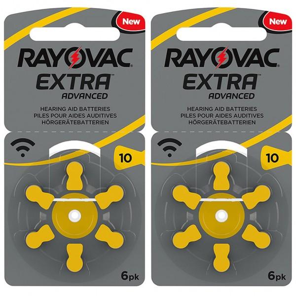 12 x RAYOVAC EXTRA Hörgerätebatterie Zink - Luft Typ 10 1.45V 2 x 6er Blister