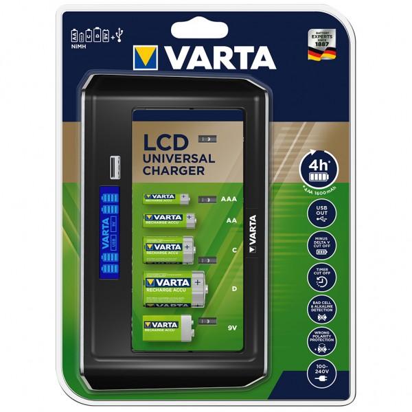 VARTA LCD Universal Ladegerät für NiMH Akkus mit USB