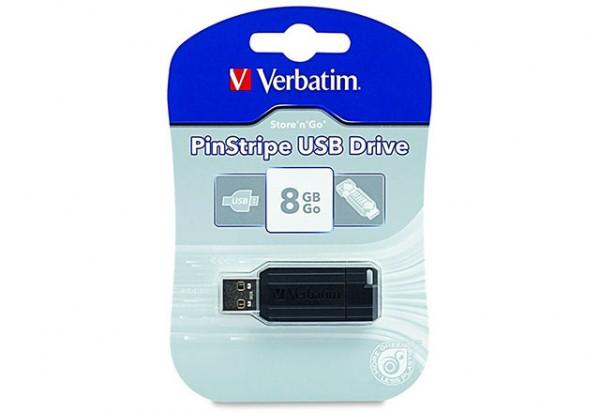 Verbatim USB 8 GB Store 'n' Go Pin Stripe SCHWARZ