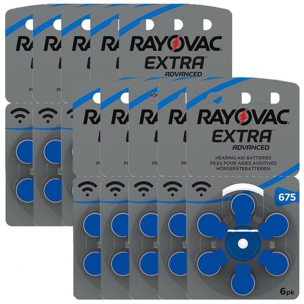 60 x RAYOVAC EXTRA Hörgerätebatterie Zink - Luft Typ 675 1.45V 10 x 6er Blister