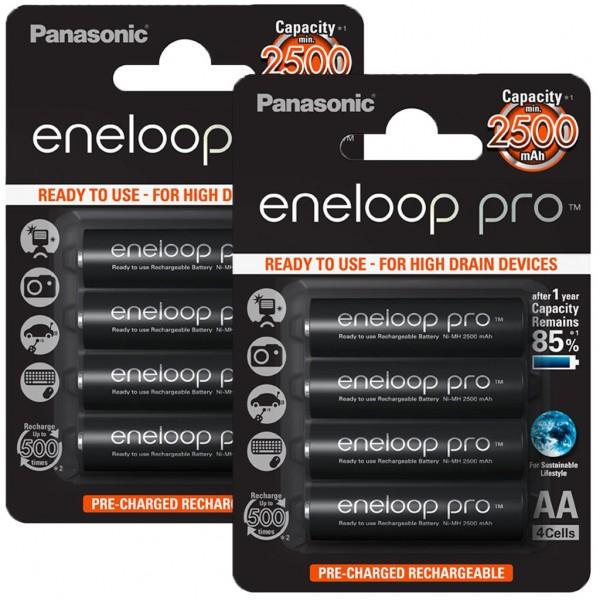 Panasonic eneloop PRO 8er Akku Pack AA BK-3HCDE Blister