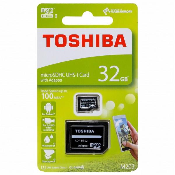 Toshiba microSDHC Class 10 32 GB Exceria M203 R100 + Adapter
