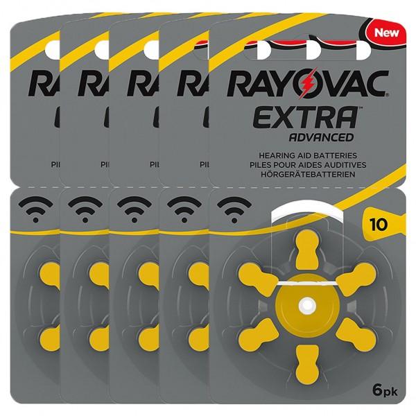 30 x RAYOVAC EXTRA Hörgerätebatterie Zink - Luft Typ 10 1.45V 5 x 6er Blister