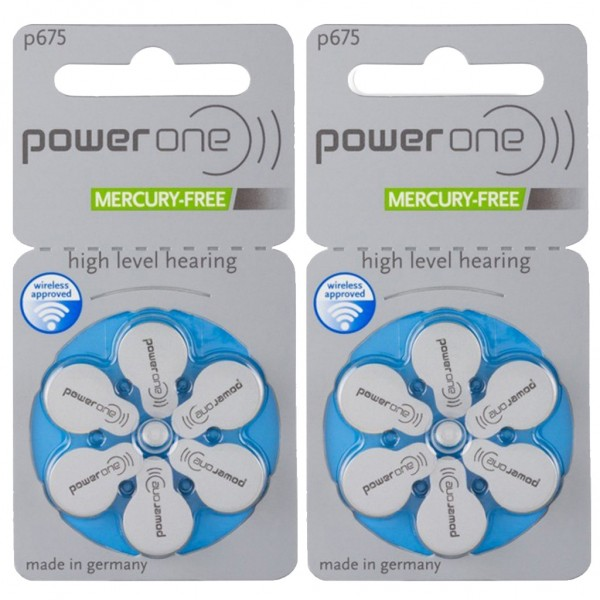 12 x Power One Hörgerätebatterie Zink - Luft Typ 675 1.45V 2 x 6er Blister
