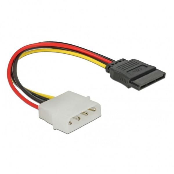 Delock Stromkabel Adapter Molex 4 Pin auf SATA 15 Pin gerade 12 cm