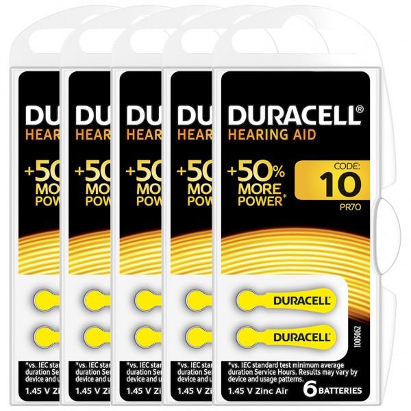 30 x Duracell Hörgerätebatterie Zink - Luft Typ 10 1.4V 5 x 6er Blister