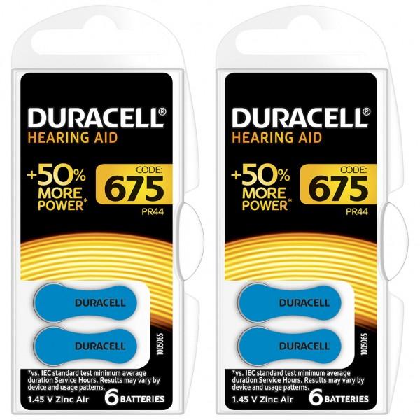 12 x Duracell Hörgerätebatterie Zink - Luft Typ 675 1.4V 2 x 6er Blister