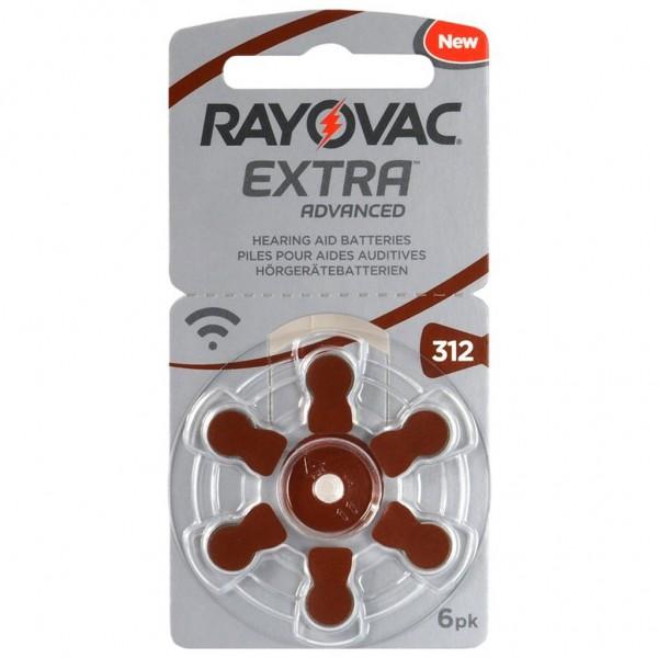6 x RAYOVAC EXTRA Hörgerätebatterie Zink - Luft Typ 312 1.45V 1 x 6er Blister