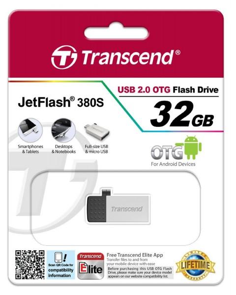 Transcend JetFlash 380 OTG 32GB micro USB + USB 2.0 silver TS32GJF380S