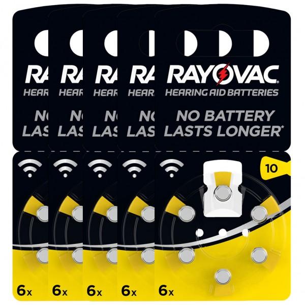 30 x RAYOVAC Hörgerätebatterie Zink - Luft Typ 10 1.45V 5 x 6er Blister