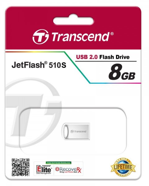Transcend JetFlash 510 8GB silver plating USB 2.0 Stick TS8GJF510S